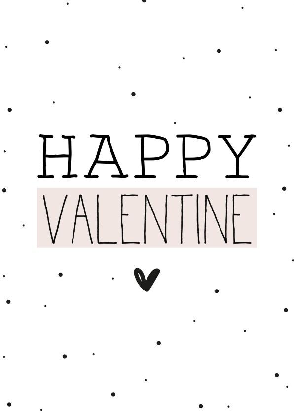 Valentijnskaarten - Valentijnskaart Happy Valentine zacht roze