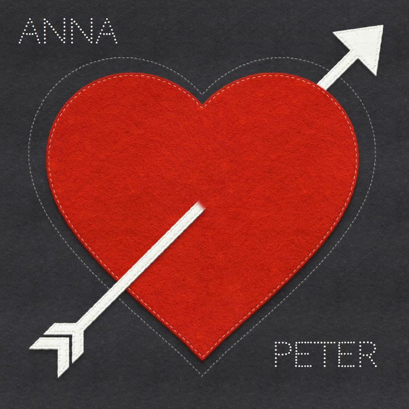 Valentijnskaarten - Valentijnskaart hart en namen