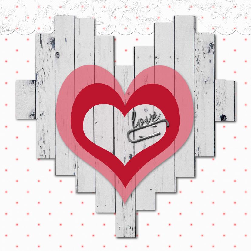Valentijnskaarten - valentijnskaart hart en stippen