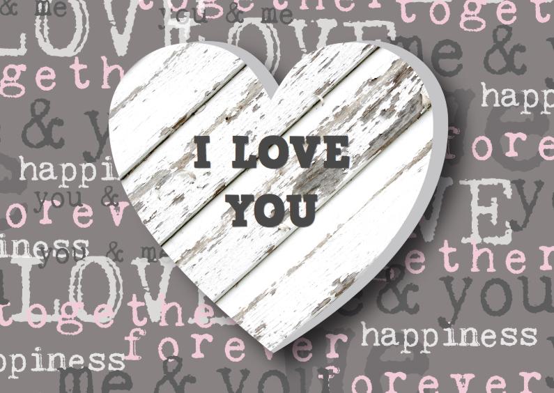 Valentijnskaarten - Valentijnskaart hart houtprint
