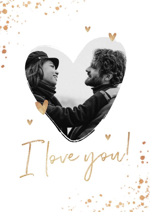 Valentijnskaarten - Valentijnskaart hart liefde goud spetters i love you
