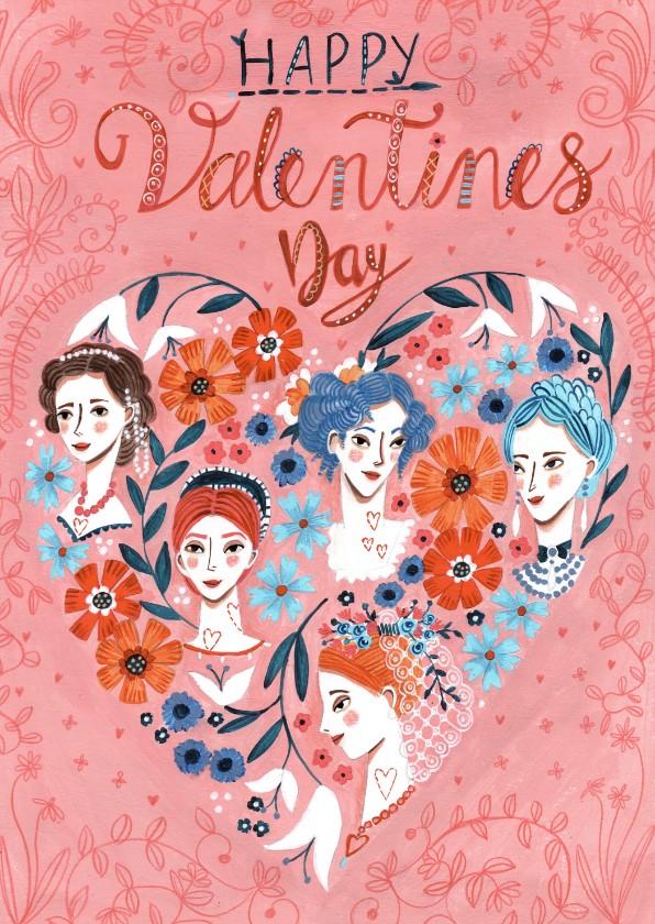 Valentijnskaarten - Valentijnskaart Hartjes en Vrouwen hoofdjes