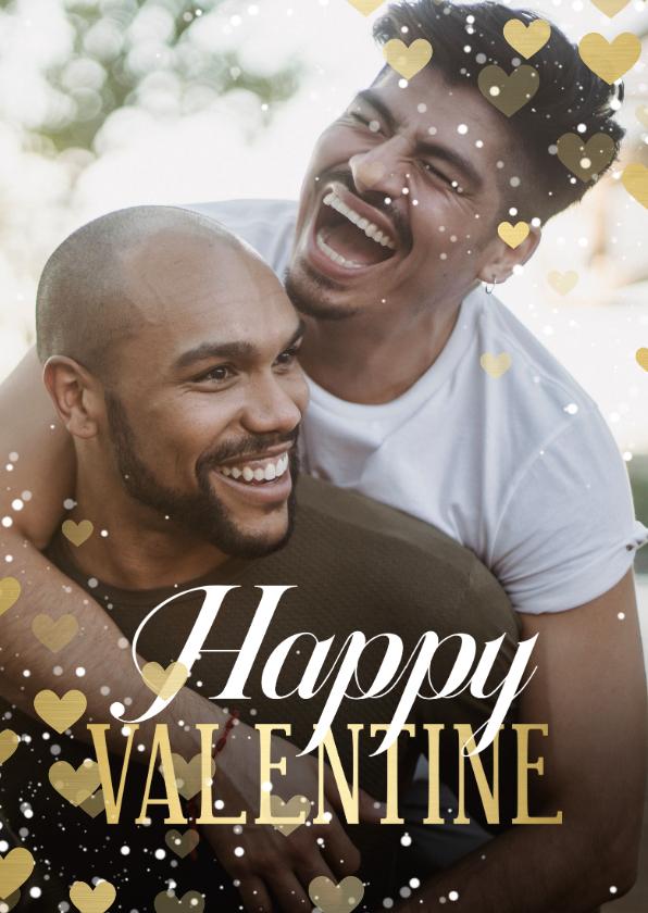 Valentijnskaarten - Valentijnskaart hartjeskader Happy Valentine