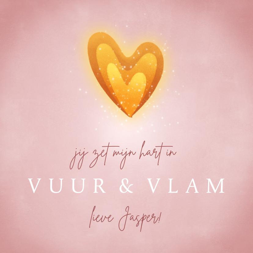 Valentijnskaarten - Valentijnskaart hartvormig vlammetje en roze achtergrond