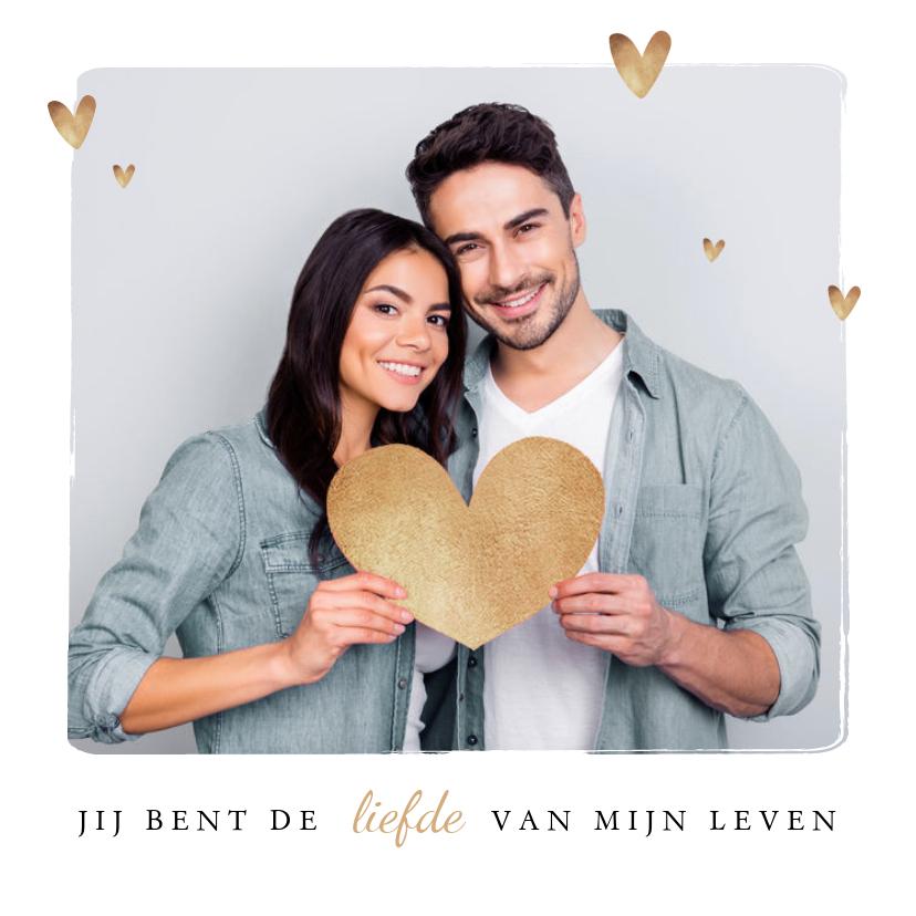 Valentijnskaarten - Valentijnskaart hip fotokaart hartjes goud