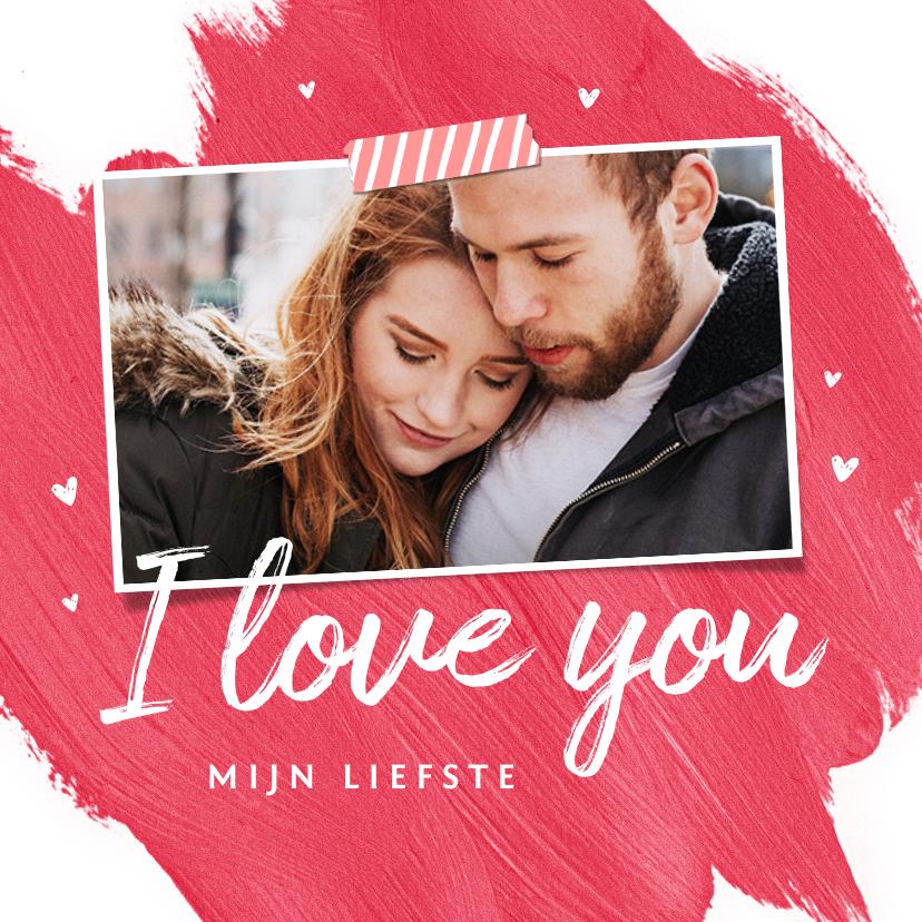 Valentijnskaarten - Valentijnskaart hip verf foto hartjes