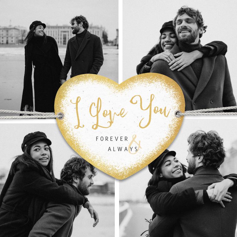 Valentijnskaarten - Valentijnskaart I love you fotocollage persoonlijk hartje