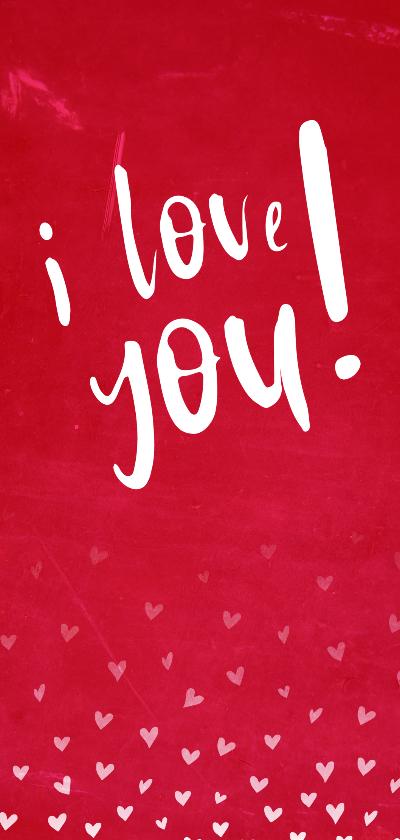 Valentijnskaarten - Valentijnskaart I love you met hartjes confetti