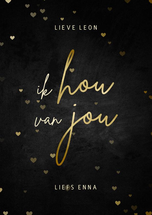 Valentijnskaarten - Valentijnskaart ik hou van jou krijtbord met goud