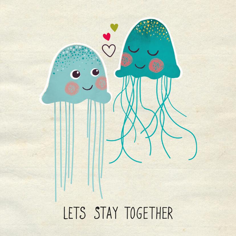 Valentijnskaarten - Valentijnskaart Jellyfish love