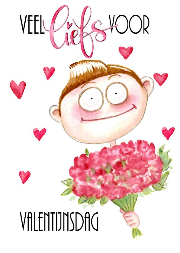Valentijnskaarten - Valentijnskaart jongen met bloemen