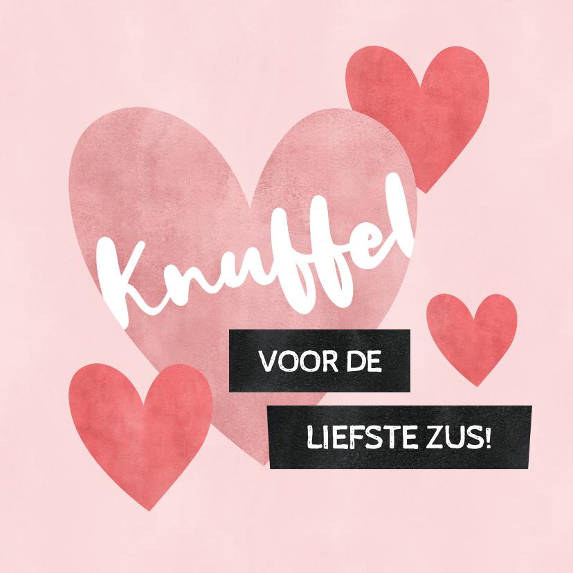 Valentijnskaarten - Valentijnskaart knuffel voor de liefste zus met hartjes
