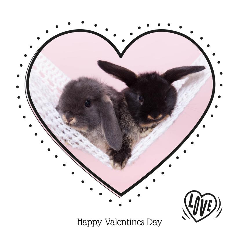 Valentijnskaarten - Valentijnskaart - Konijntjes in hartje