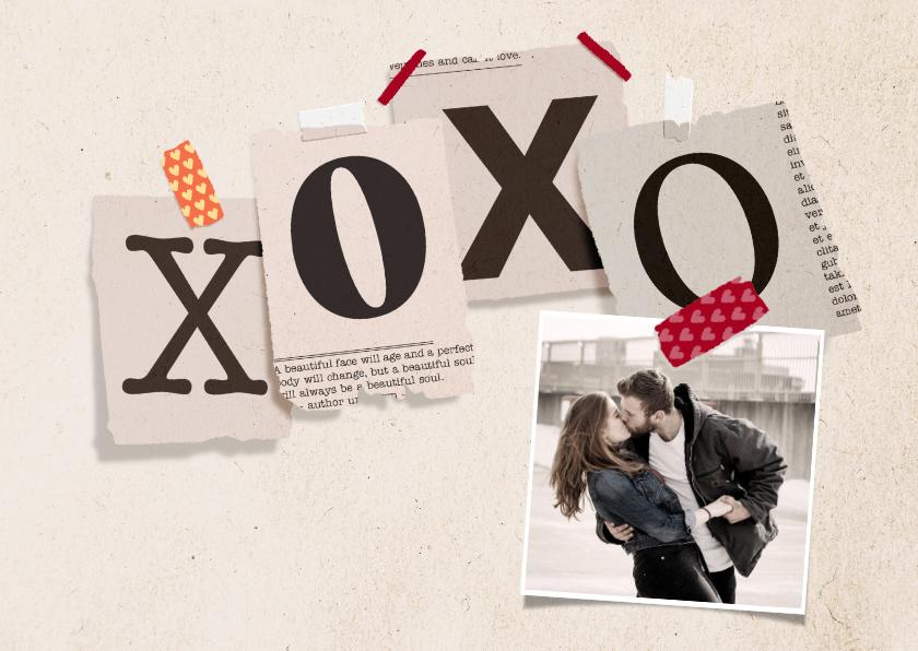 Valentijnskaarten - Valentijnskaart krantenknipsels XOXOXO