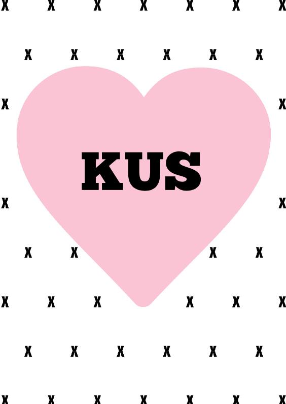 Valentijnskaarten - Valentijnskaart kus hart
