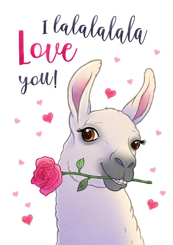 Valentijnskaarten - Valentijnskaart Lama I lalalala Love you