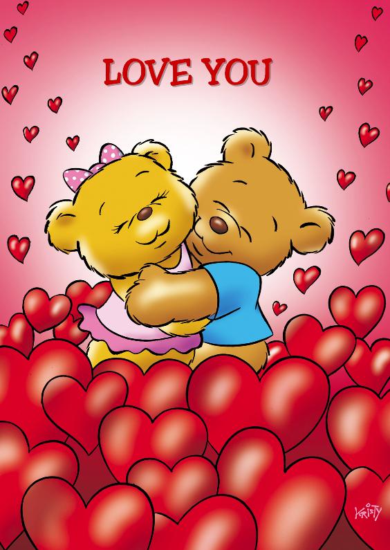 Valentijnskaarten - Valentijnskaart liefde beren tussen harten