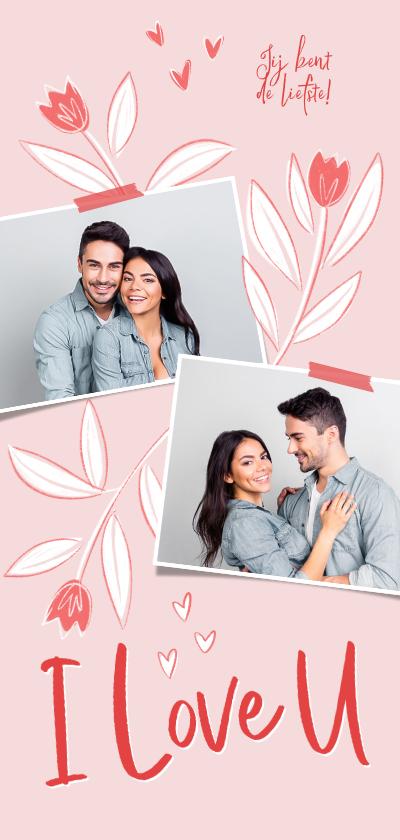 Valentijnskaarten - Valentijnskaart liefde bloemen tulpen foto's hartjes