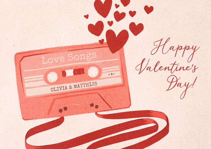 Valentijnskaarten - Valentijnskaart liefdesliedjes cassettebandje