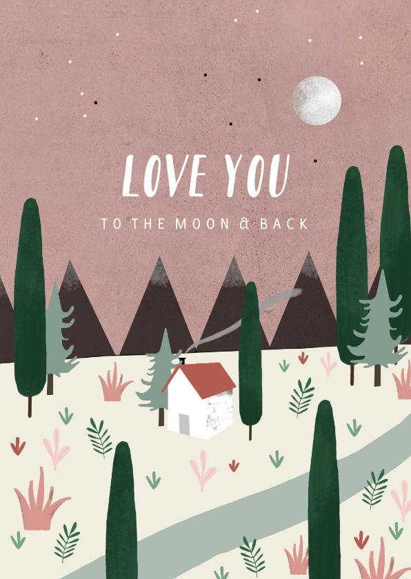 Valentijnskaarten - Valentijnskaart love you to the moon & back illustratie