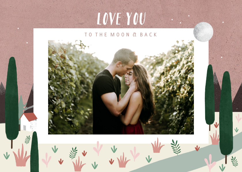 Valentijnskaarten - Valentijnskaart love you to the moon & back met foto