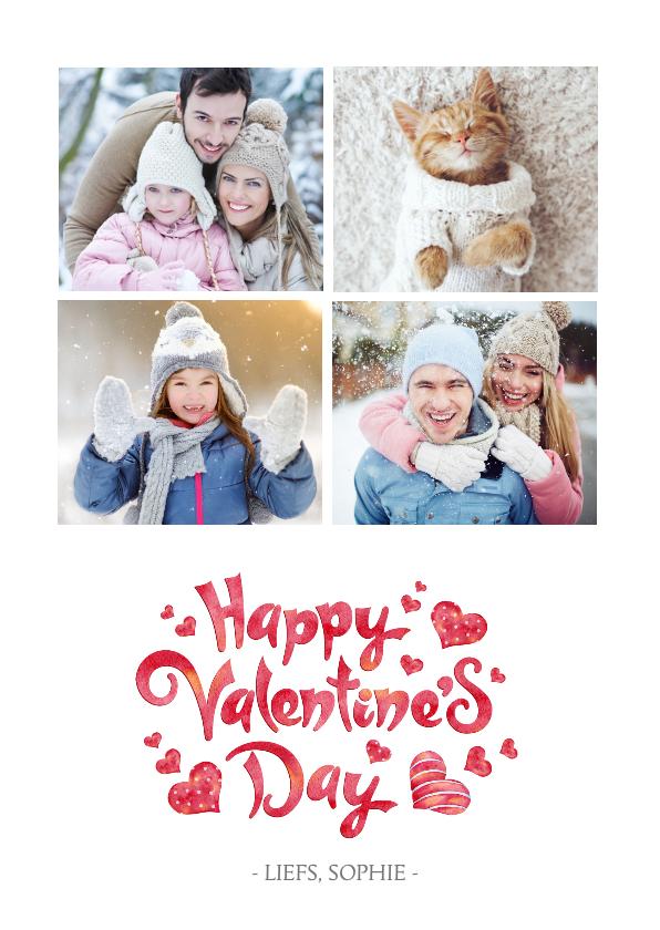 Valentijnskaarten - Valentijnskaart met een fotocollage van 4 foto's
