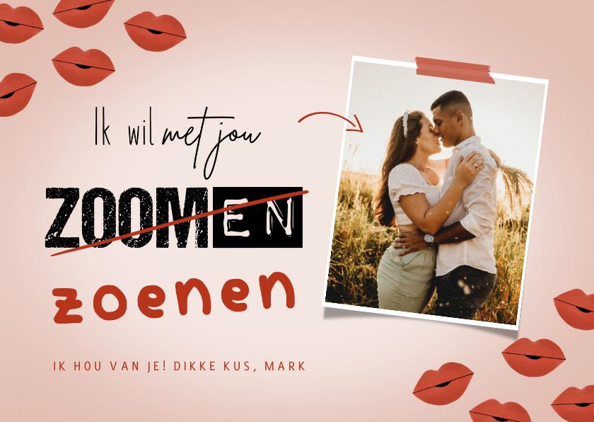 Valentijnskaarten - Valentijnskaart met foto ik wil met je zoenen kusjes corona