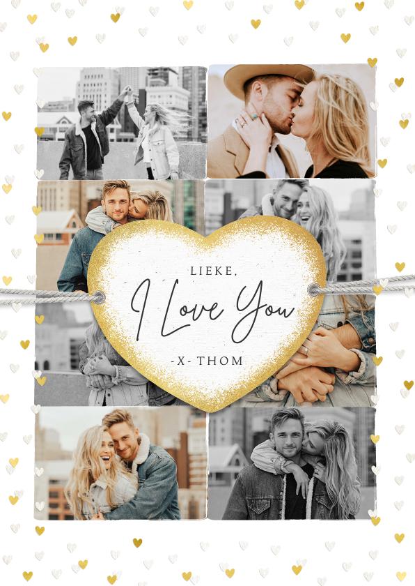 Valentijnskaarten - Valentijnskaart met fotocollage en gouden hartjes label