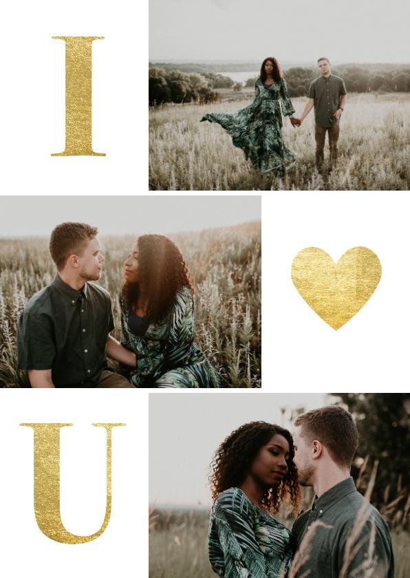 Valentijnskaarten - Valentijnskaart met gouden typografie en foto's