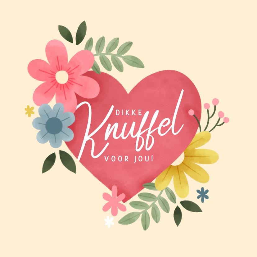 Valentijnskaarten - Valentijnskaart met hartje, bloemen, takjes 'Dikke knuffel'