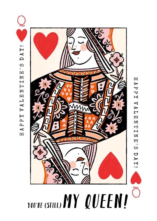 Valentijnskaarten - Valentijnskaart met illustratie van kleurrijke hartenvrouw