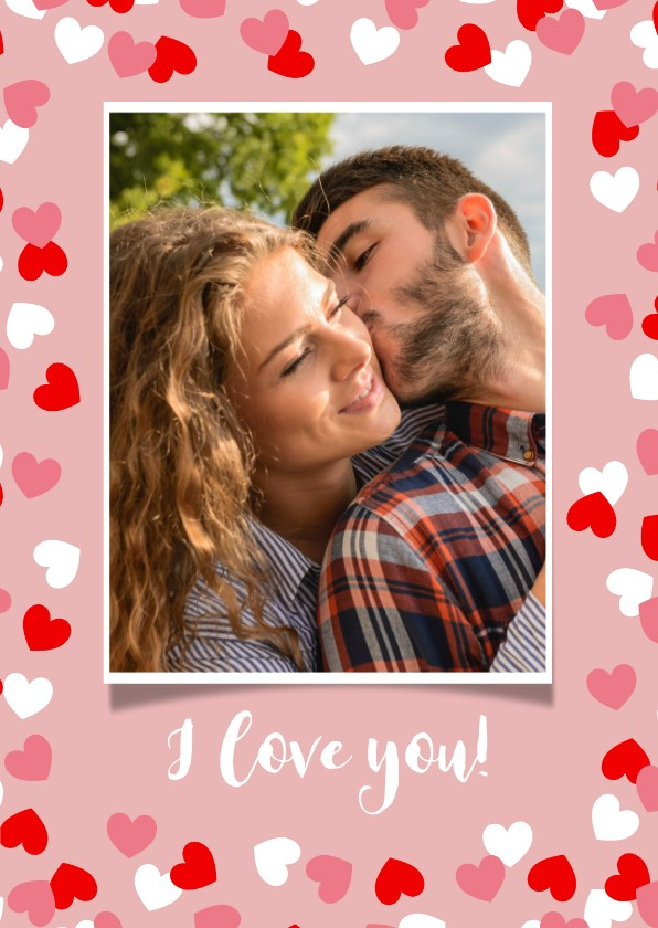 Valentijnskaarten - Valentijnskaart met kader van hartjes en foto