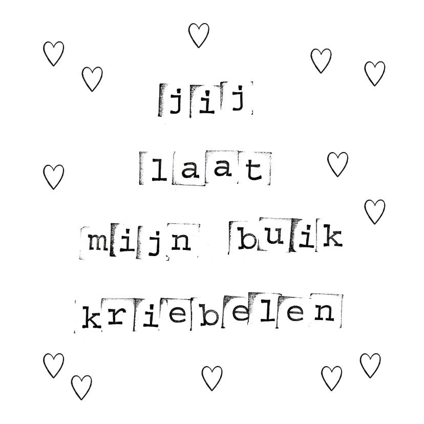 Valentijnskaarten - Valentijnskaart met liefdesquote in zwart wit en hartjes