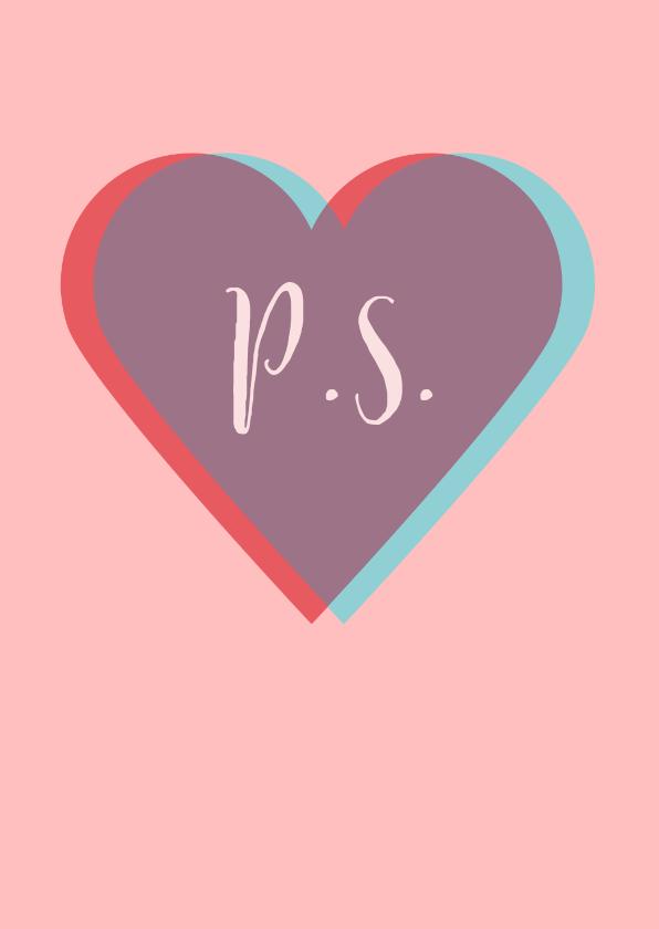 Valentijnskaarten - Valentijnskaart met twee harten