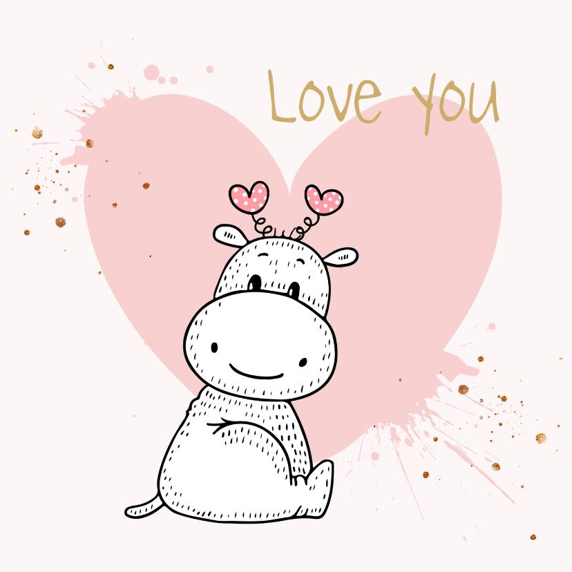 Valentijnskaarten - Valentijnskaart - Nijlpaard met roze hart