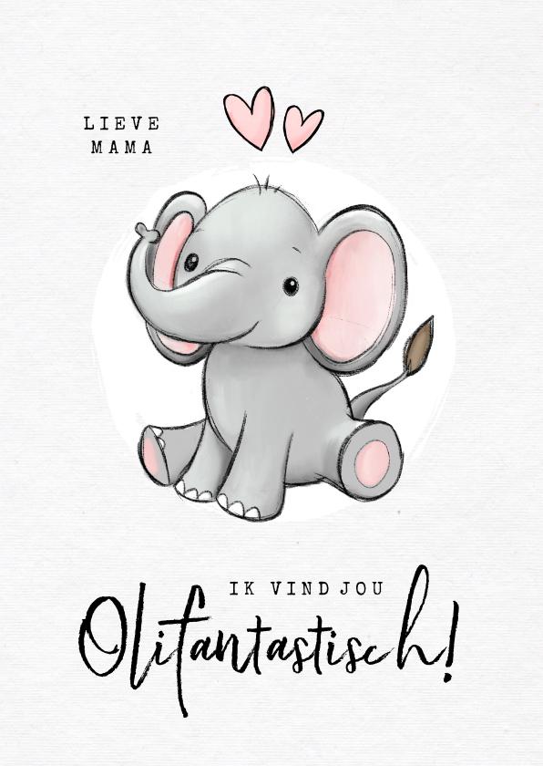 Valentijnskaarten - Valentijnskaart olifant fantastisch humor kind hartjes