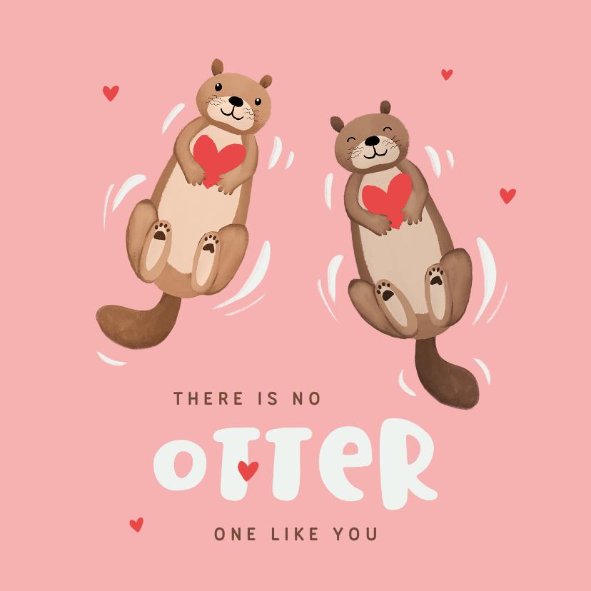 Valentijnskaarten - Valentijnskaart otters hartjes liefde vriendschap