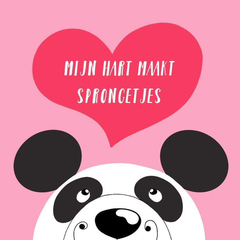 Valentijnskaarten - Valentijnskaart - panda - sprongetjes van geluk - SK