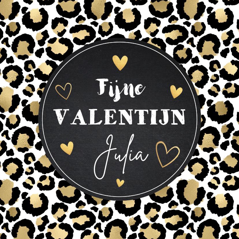 Valentijnskaarten - Valentijnskaart panterprint goudlook hartjes