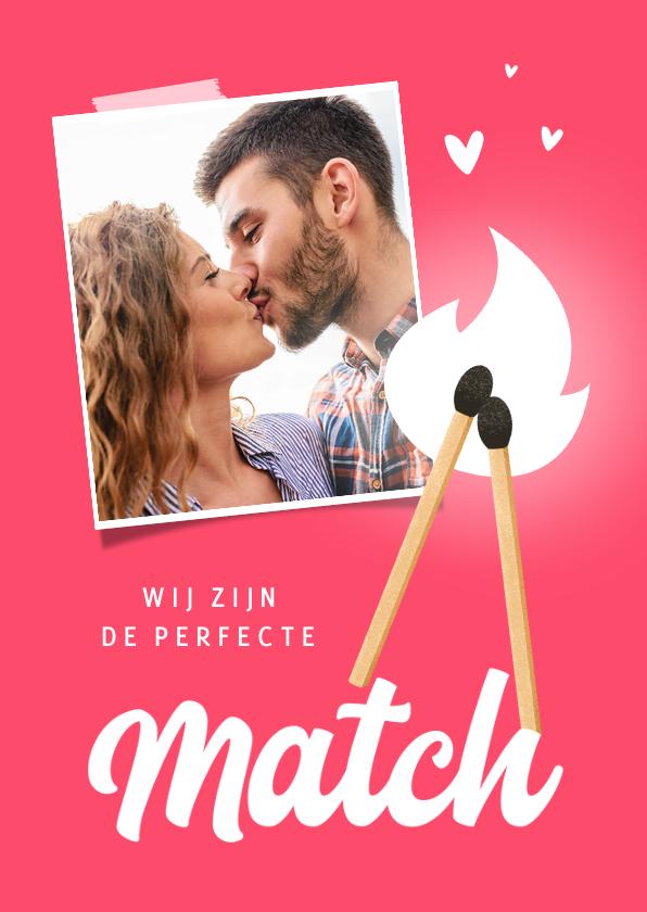 Valentijnskaarten - Valentijnskaart perfecte match lucifer foto hartjes