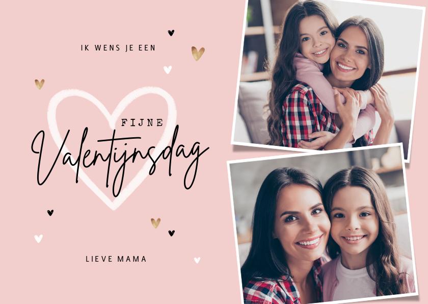 Valentijnskaarten - Valentijnskaart persoonlijk foto's hartjes mama oma