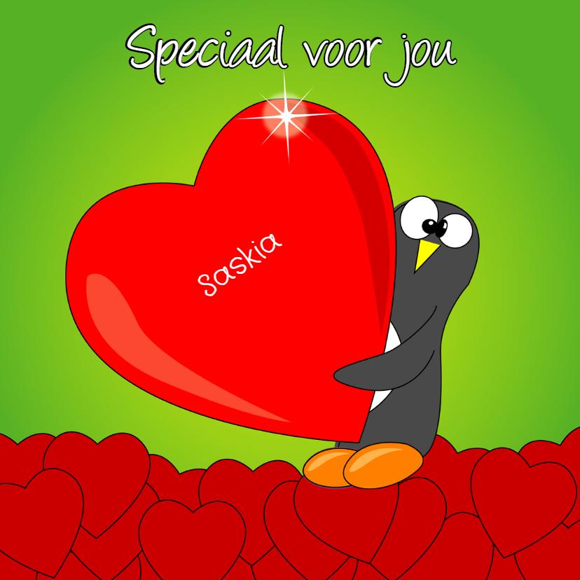 Valentijnskaarten - Valentijnskaart pinguïn met hart