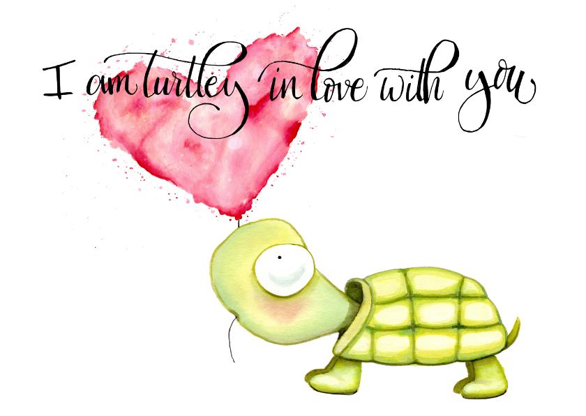 Valentijnskaarten - Valentijnskaart Schildpad en hartjes