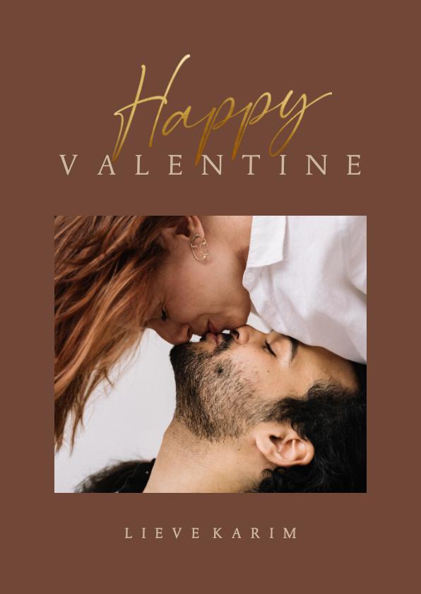 Valentijnskaarten - Valentijnskaart stijlvol met foto en gouden tekst