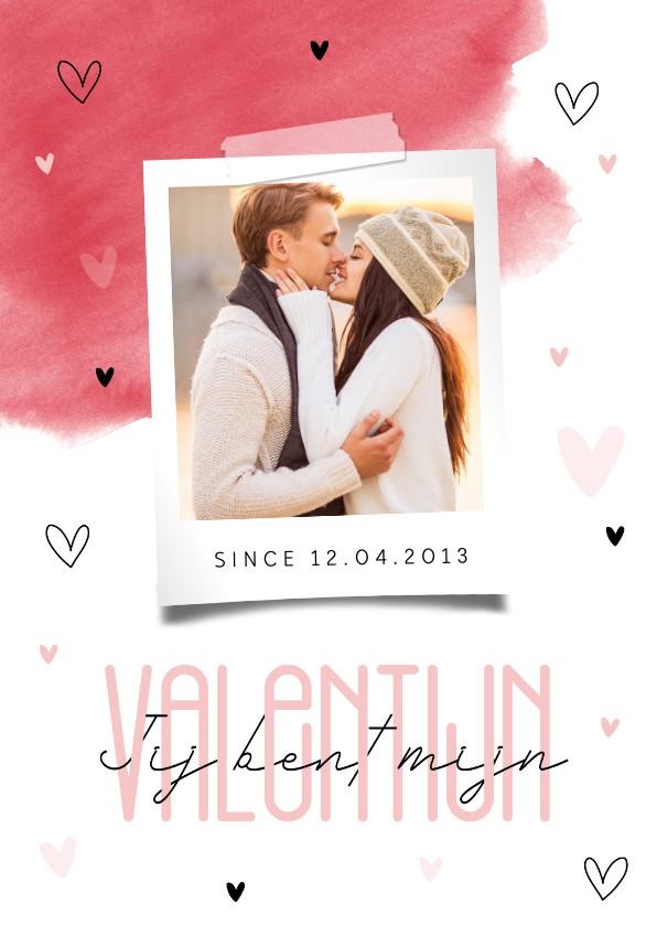 Valentijnskaarten - Valentijnskaart stijlvol typografisch waterverf met foto