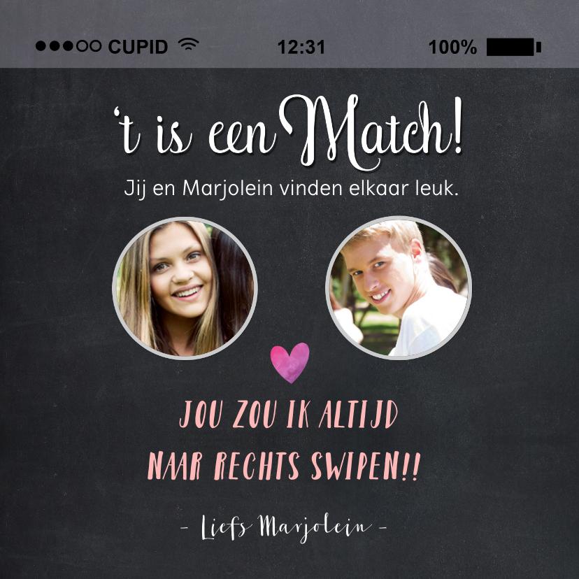 Valentijnskaarten - Valentijnskaart 't is een match!' met 2 foto's