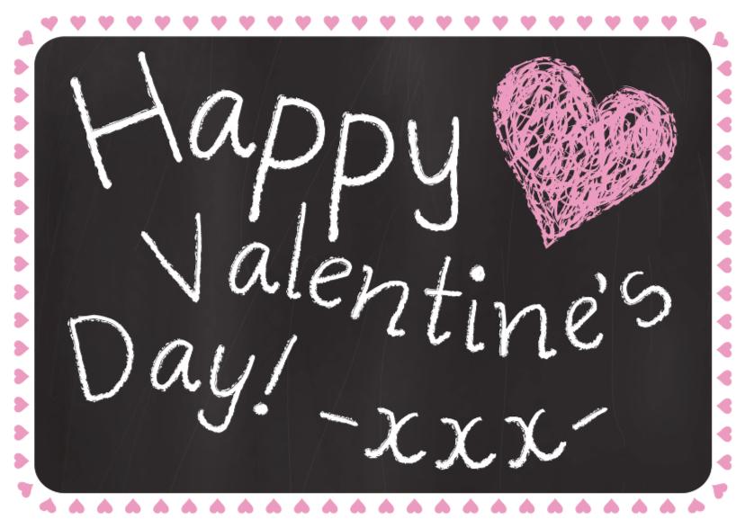 Valentijnskaarten - Valentijnskaart tekst krijtbord