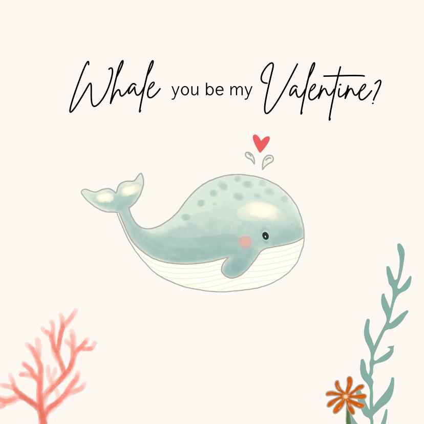 Valentijnskaarten - Valentijnskaart - Walvis mintgroen met koraal