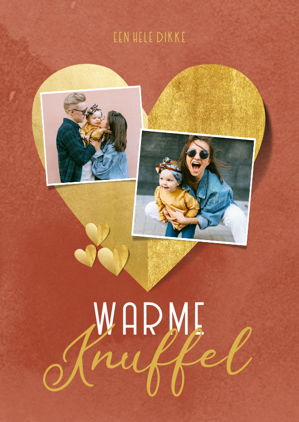 Valentijnskaarten - Valentijnskaart warme knuffel gouden hartjes foto's