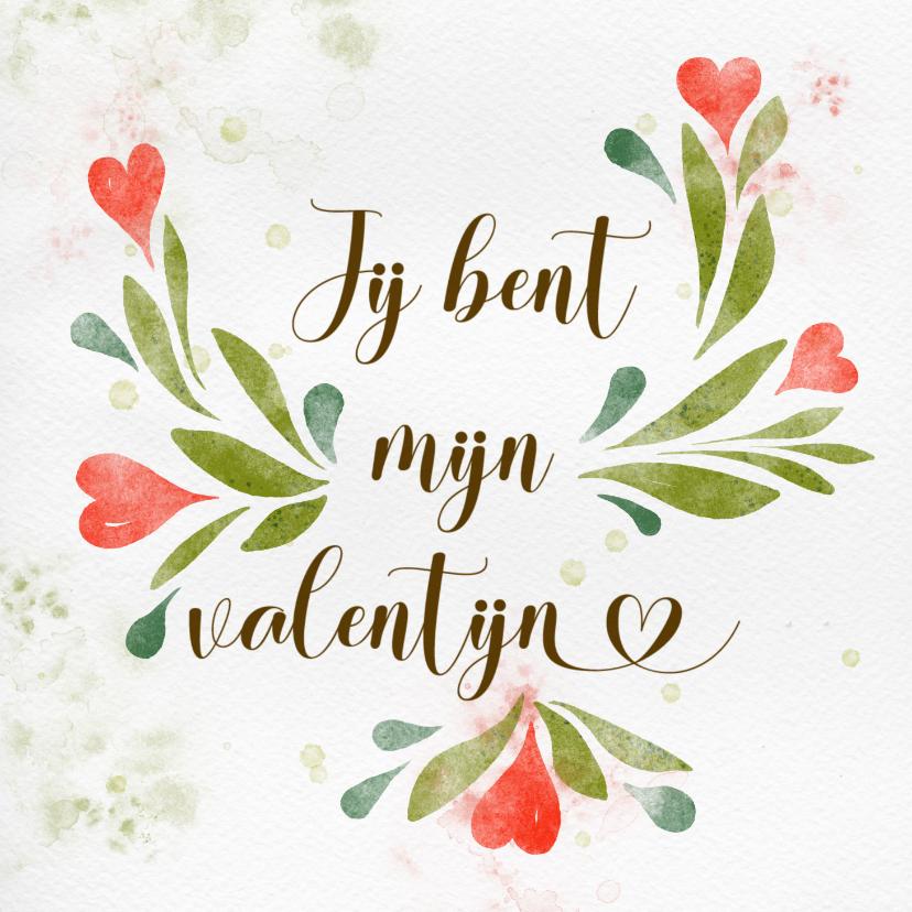 Valentijnskaarten - Valentijnskaart waterverf, hartjes tussen het groen